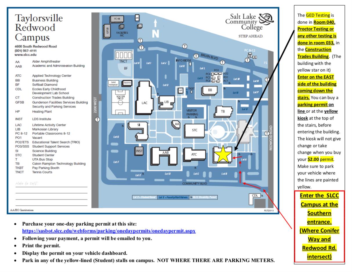 salt lake community college jordan campus map Ged Test Slcc