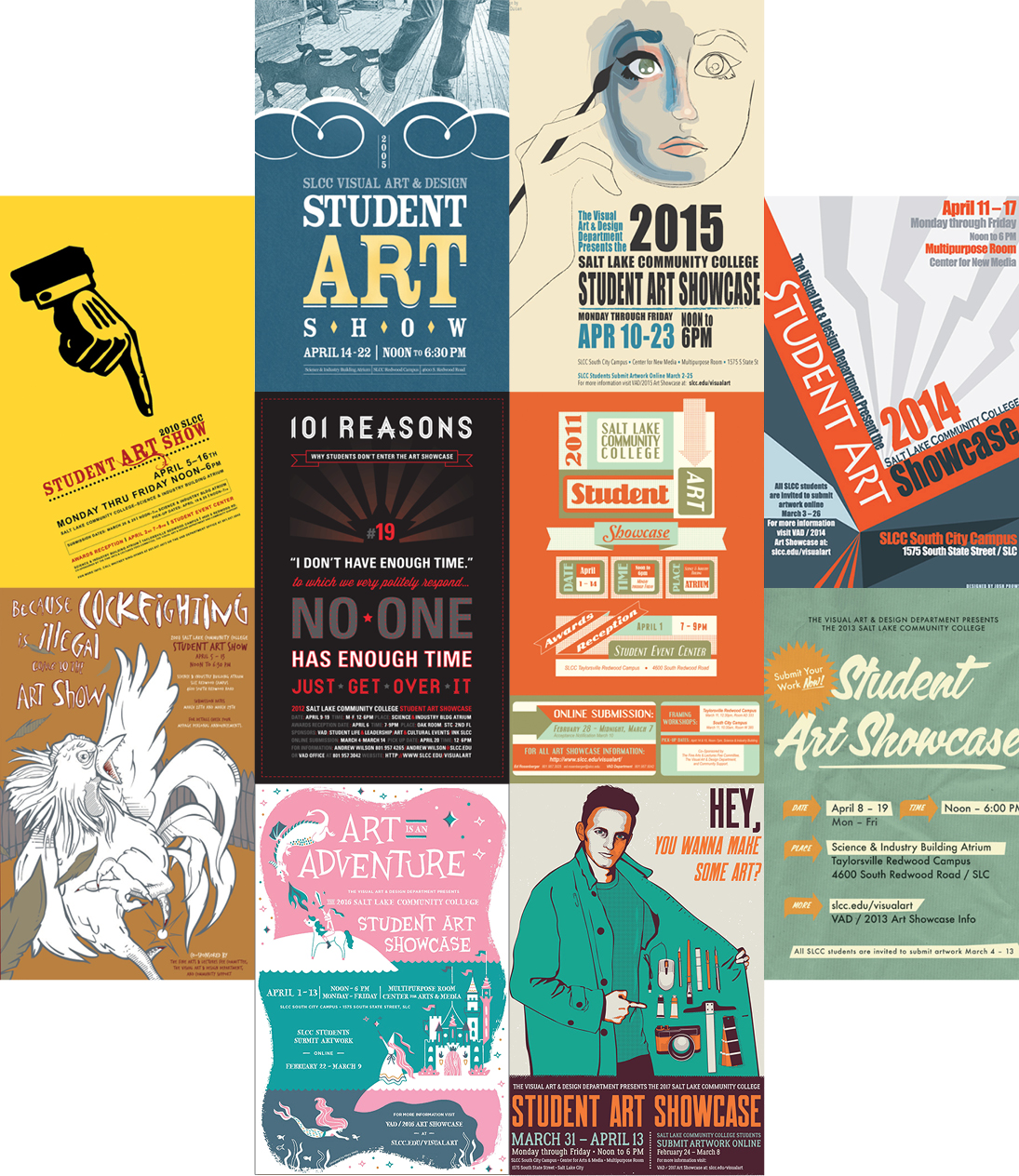 10 student art show posters collage