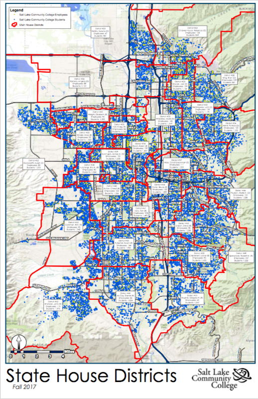 SLCC Student and Employee Potions by District | SLCC on salt lake community college map, dixie map, st. louis meramec community college map, vsu map, uw-l map, willamette map, clc map, cfcc map, wcu map, lccc map, usu map, san map, golden west college map, davenport map, amtrak south station boston map, jcu map, sbvc map, snow map, salt lake city trax map, slc map,